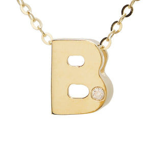 "Birmingham Jewelry - 14K Gold Initial ""B Necklace (Diamond) - Birmingham Jewelry"