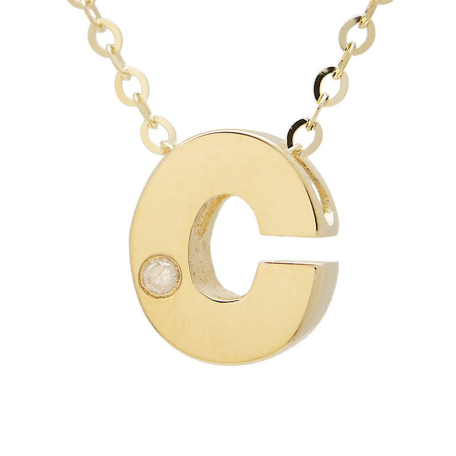 "Birmingham Jewelry - 14K Gold Initial ""C"" Necklace (Diamond) - Birmingham Jewelry"
