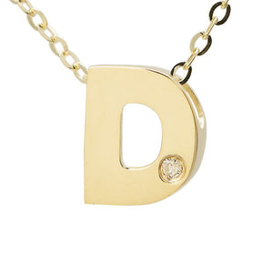 "Birmingham Jewelry - 14K Gold Initial ""D"" Necklace (Diamond) - Birmingham Jewelry"