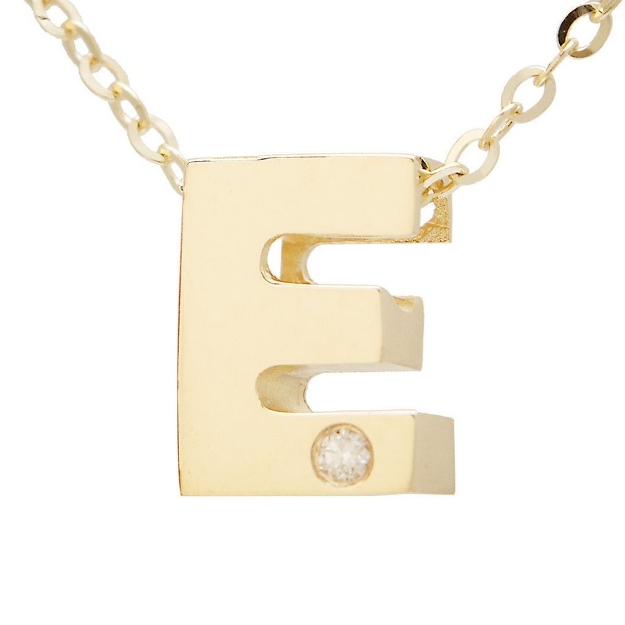 "Birmingham Jewelry - 14K Gold Initial ""E"" Necklace (Diamond) - Birmingham Jewelry"