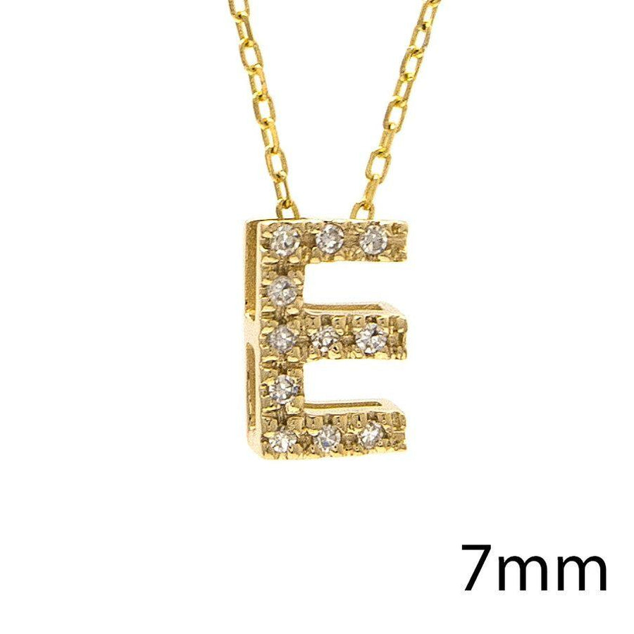 "Birmingham Jewelry - 14K Gold Initial ""E"" Necklace With Diamonds - Birmingham Jewelry"