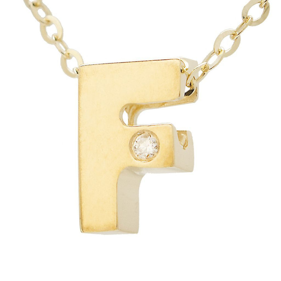"Birmingham Jewelry - 14K Gold Initial ""F"" Necklace (Diamond) - Birmingham Jewelry"