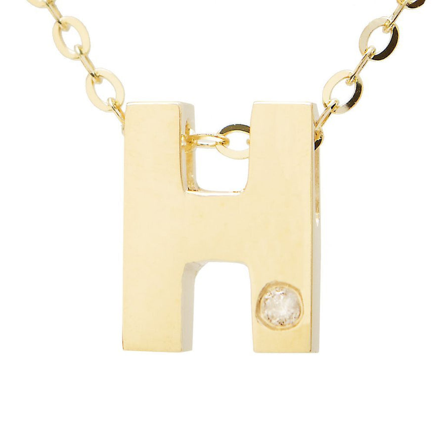 "Birmingham Jewelry - 14K Gold Initial ""H"" Necklace (Diamond) - Birmingham Jewelry"