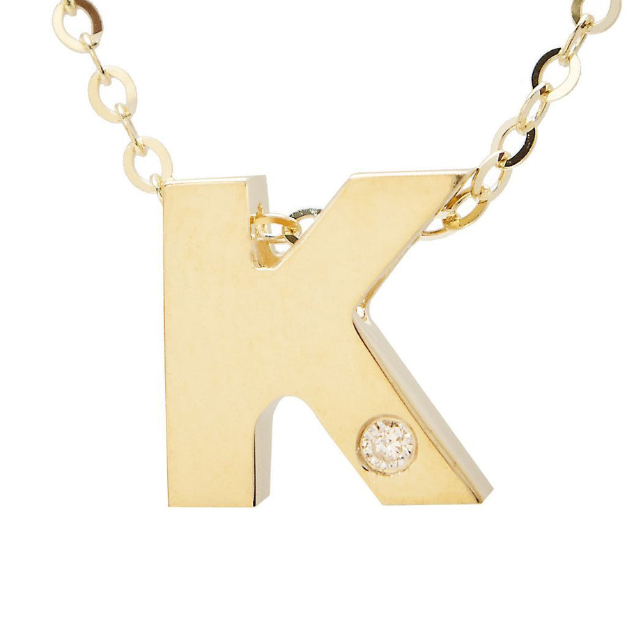 "Birmingham Jewelry - 14K Gold Initial ""K"" Necklace (Diamond) - Birmingham Jewelry"