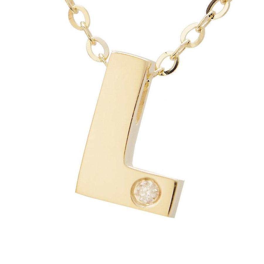 "Birmingham Jewelry - 14K Gold Initial ""L"" Necklace (Diamond) - Birmingham Jewelry"