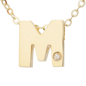 "Birmingham Jewelry - 14K Gold Initial ""M"" Necklace (Diamond) - Birmingham Jewelry"