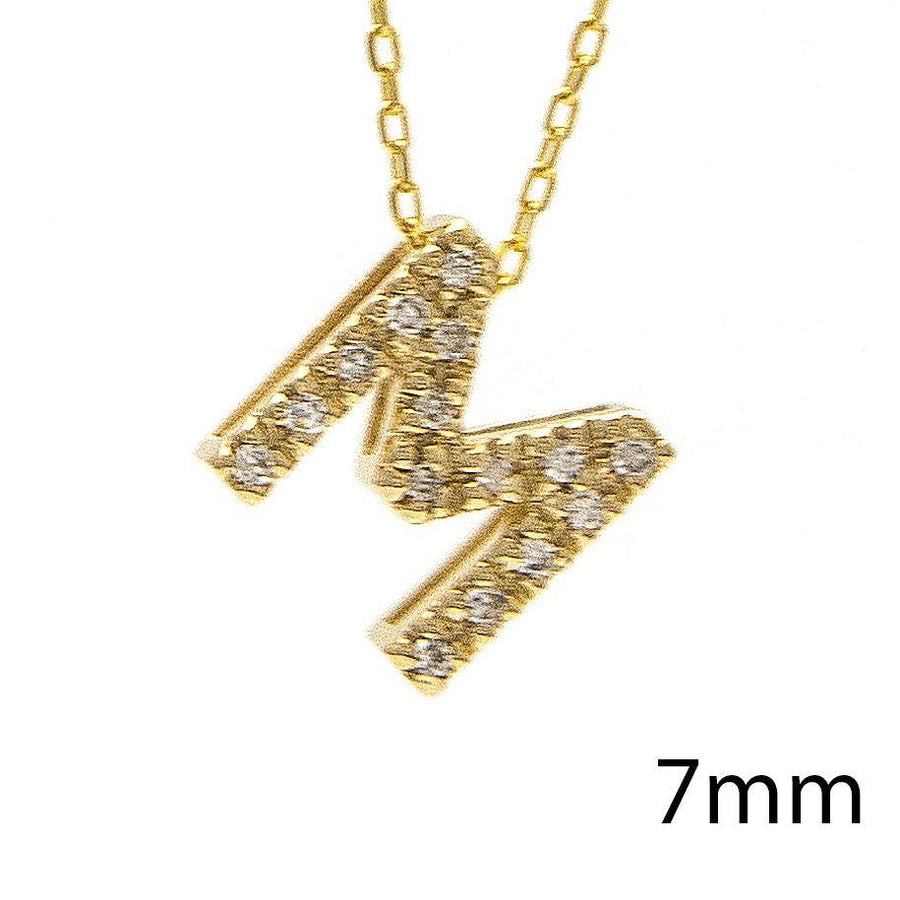 "Birmingham Jewelry - 14K Gold Initial ""M"" Necklace With Diamonds - Birmingham Jewelry"