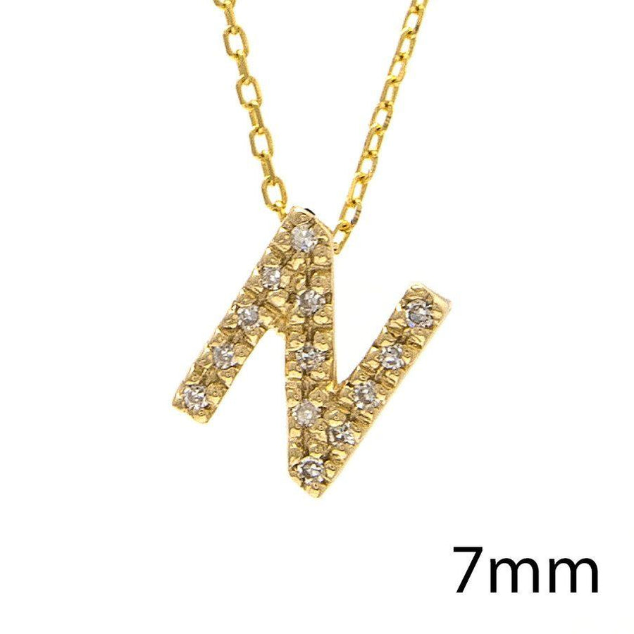 "Birmingham Jewelry - 14K Gold Initial ""N"" Necklace With Diamonds - Birmingham Jewelry"