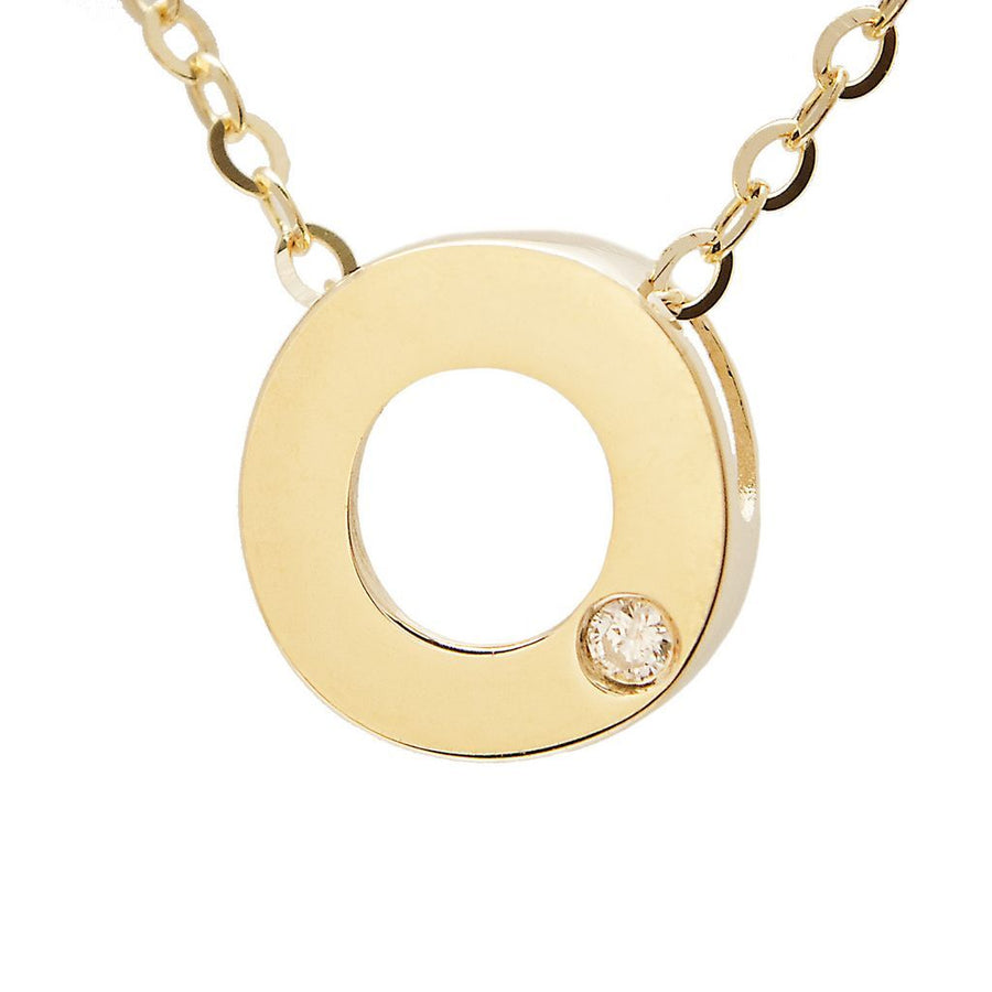 "Birmingham Jewelry - 14K Gold Initial ""O"" Necklace (Diamond) - Birmingham Jewelry"