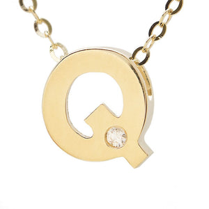 "Birmingham Jewelry - 14K Gold Initial ""Q"" Necklace (Diamond) - Birmingham Jewelry"