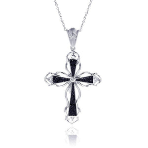 Birmingham Jewelry - Black CZ Cross Necklace - Birmingham Jewelry