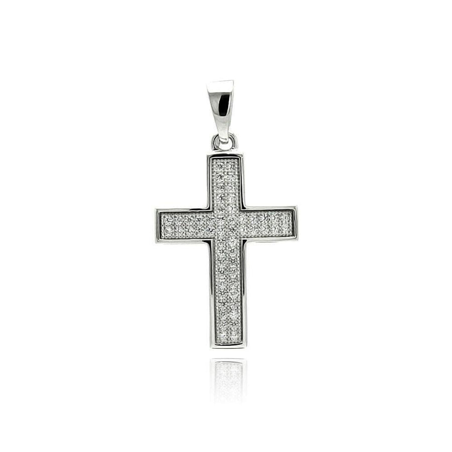Birmingham Jewelry - Cross Inlay Micro Pave CZ Cross Necklace - Birmingham Jewelry