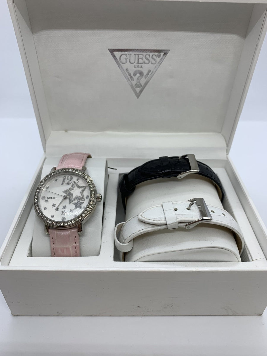 Guess - Pink Women's Interchangeable Leather Strap Box Set - Birmingham Jewelry