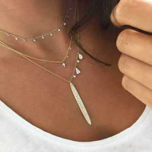 Meira T - Dainty Cross Diamond Necklace - BJ1N93554 - Birmingham Jewelry