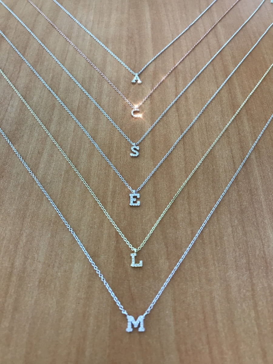 "Meira T - Mini Diamond Initial ""M"" Necklace - BJ1N5756 - Birmingham Jewelry"