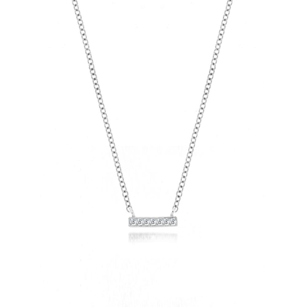 White Mini Diamond Bar Necklace - BJN10164, Necklace, Birmingham Jewelry - Birmingham Jewelry