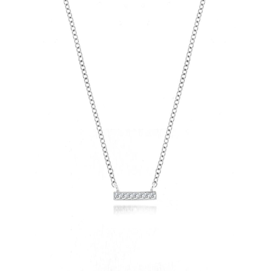 Birmingham Jewelry White Mini Diamond Bar Necklace - BJN10164 Necklace - Birmingham Jewelry