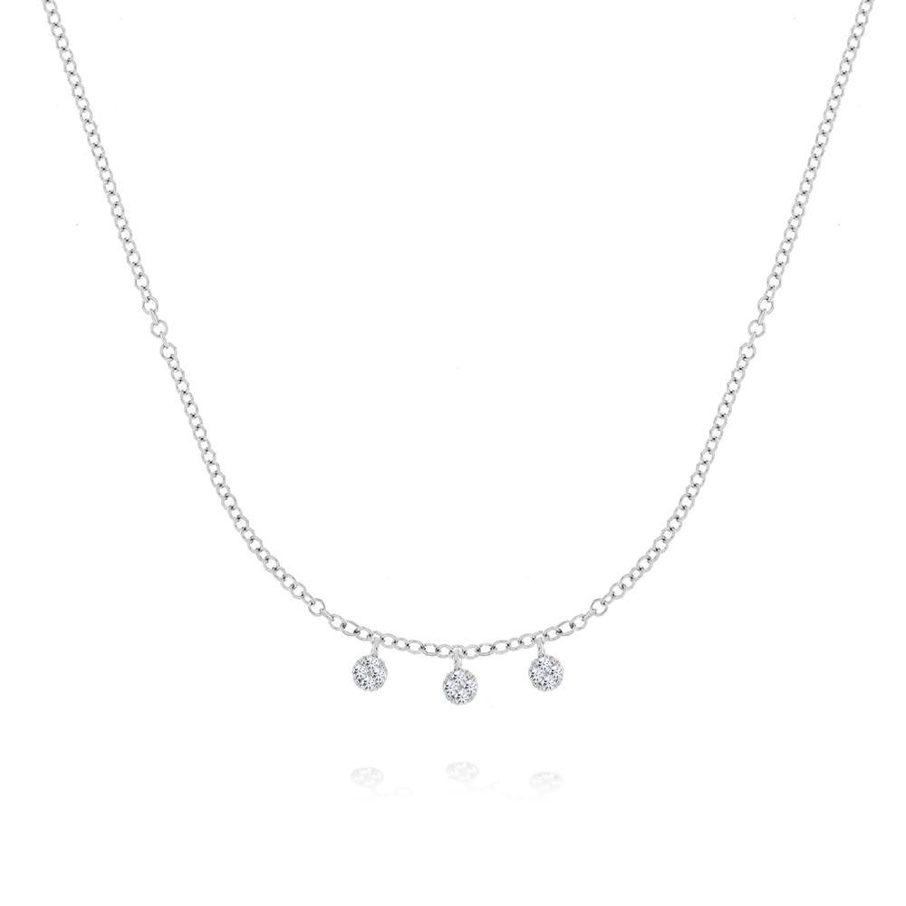 N10606 - White Gold Diamond Disk Necklace, Women's Necklace, Meira T - Birmingham Jewelry
