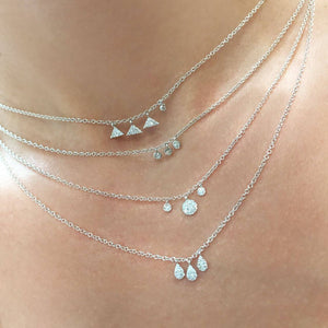 Meira T - N10606 - White Gold Diamond Disk Necklace - Birmingham Jewelry