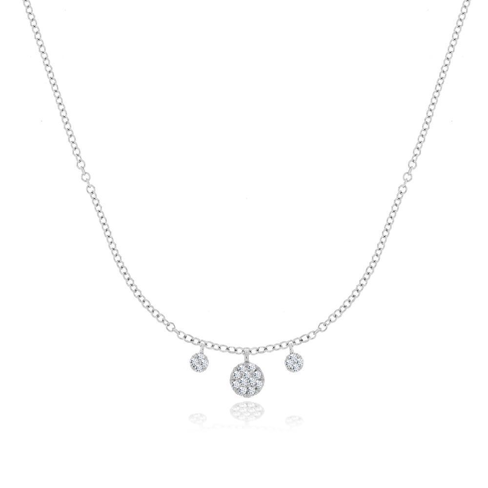 White Gold Disc Necklace - BJN10610, Necklace, Birmingham Jewelry - Birmingham Jewelry