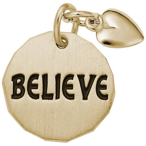 Rembrandt Charms - Rembrandt Charms - Believe Charm Tag With Heart Accent - 8443 - Birmingham Jewelry