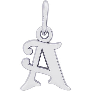 "Rembrandt Charms - Rembrandt Charms - Curly Initial Accent Charm - 4765 ""14K WHITE GOLD"" - Birmingham Jewelry"