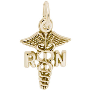 Rembrandt Charms - Rembrandt Charms - Small Registered Nurse Caduceus Charm - 0543 - Birmingham Jewelry