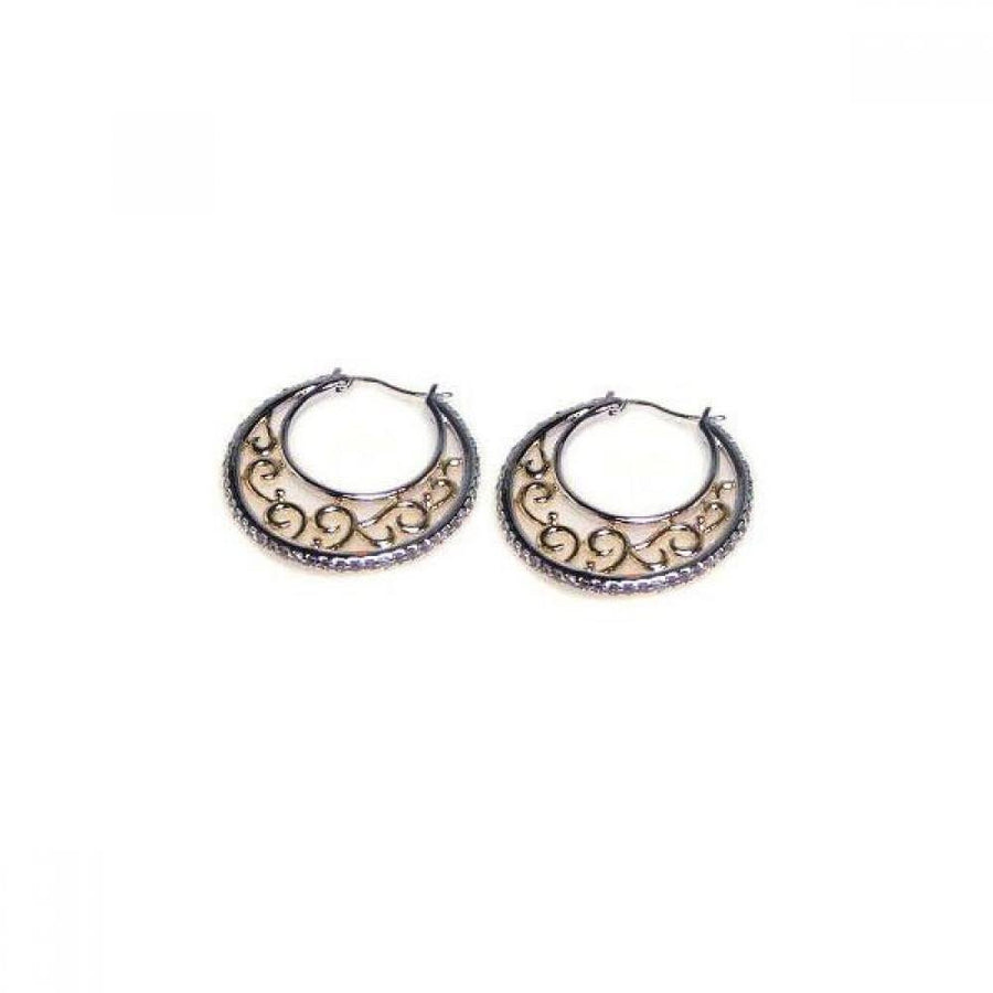 Silver Jewelry - Crescent CZ Filigree Hoop Earrings - Birmingham Jewelry