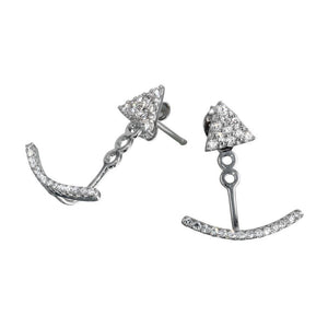 Silver Jewelry - Curve CZ Hanging Stud Earrings - Birmingham Jewelry