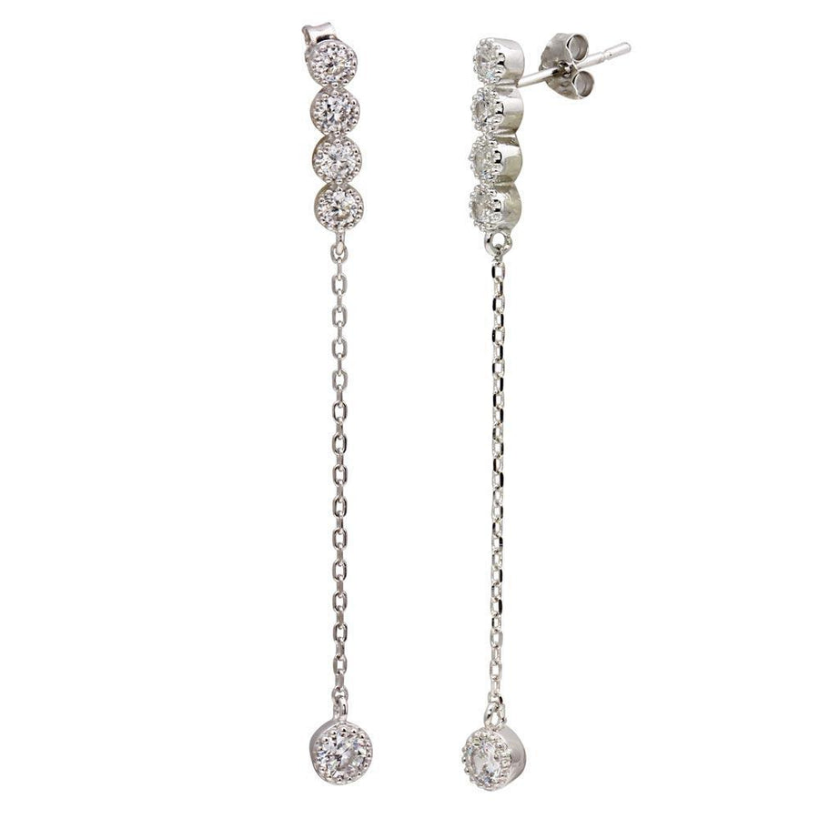 Silver Jewelry - Dangling CZ Earrings - Birmingham Jewelry