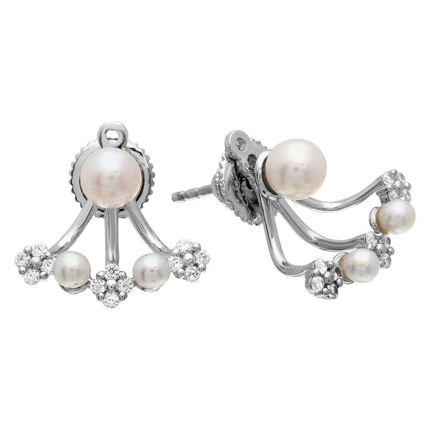Silver Jewelry - Fresh Water Pearl and CZ Hanging Earring - Birmingham Jewelry