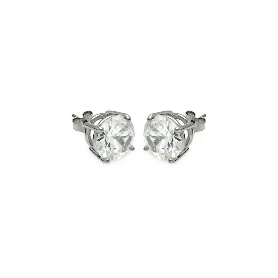 Silver Jewelry - Round Basket Clear CZ Stud Earrings - Birmingham Jewelry