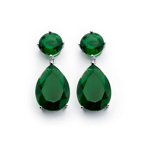 Silver Jewelry - Round Teardrop Green CZ Dangling Earrings - Birmingham Jewelry