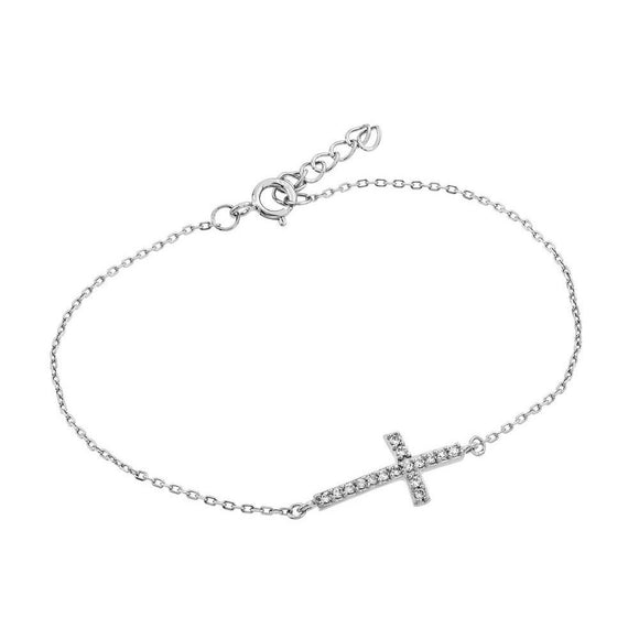 Sideways Cross CZ Bracelet