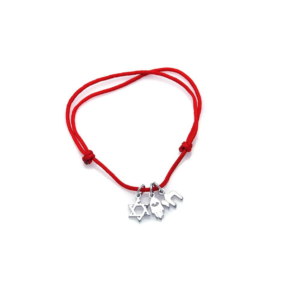 Red Cord Sign Charms Bracelet