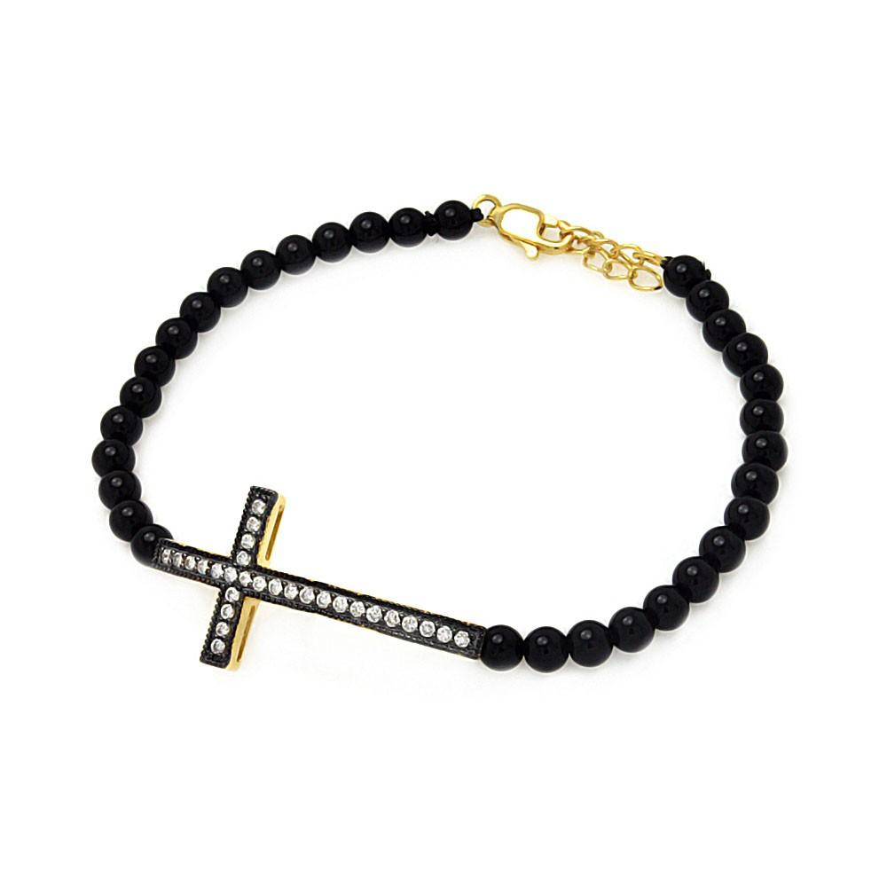 Sideways Cross CZ Black Bead Bracelet - Birmingham Jewelry