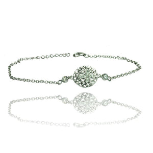 Circle Flower CZ Inlay Bracelet - Birmingham Jewelry