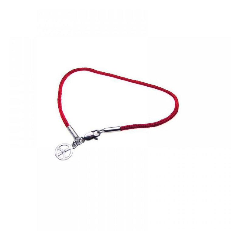 Plated Peace Sign Red Cord Bracelet
