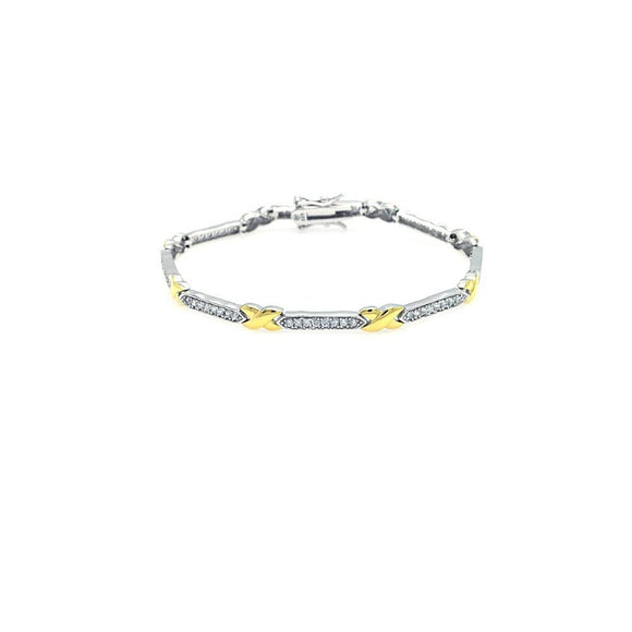 Two Tone Clear CZ Tennis Bracelet - Birmingham Jewelry