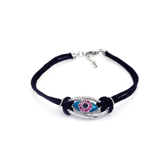 Evil Eye Clear and Pink Black Cord Bracelet