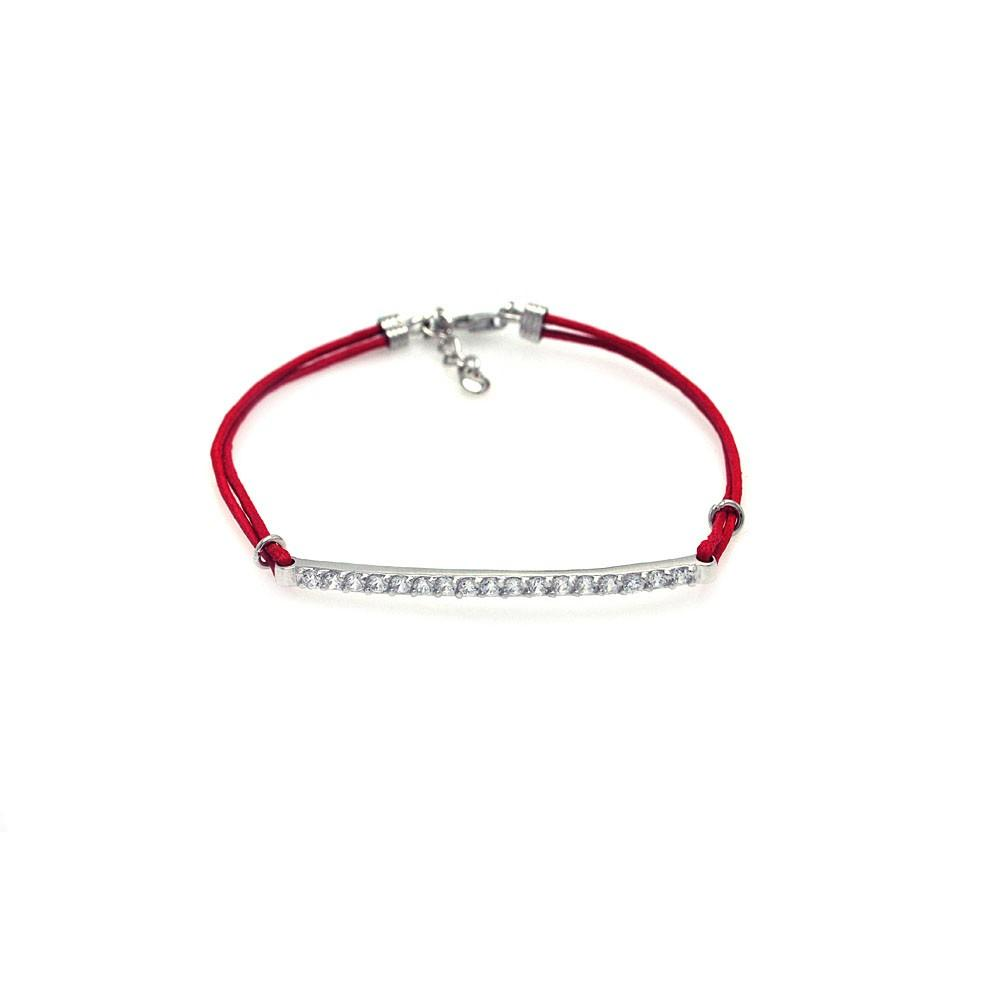 Clear CZ ID Red Cord Bracelet