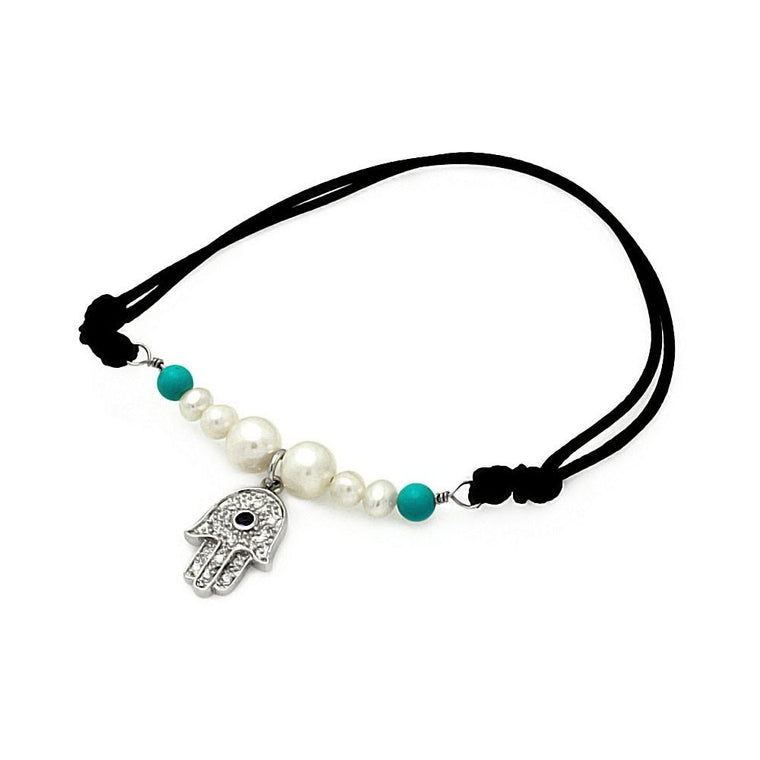 Pearl Turquoise Beads Hamsa Clear CZ Black Cord Bracelet