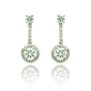 Circle Pave CZ Dangling Stud Earring - Birmingham Jewelry