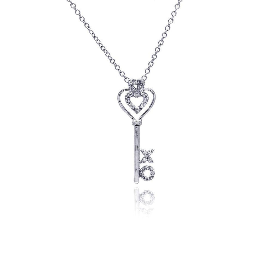 X O Open Heart CZ Necklace, Silver Necklace, Silver Jewelry - Birmingham Jewelry