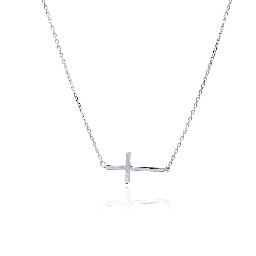 Sideways Cross Necklace, Silver Necklace, Silver Jewelry - Birmingham Jewelry