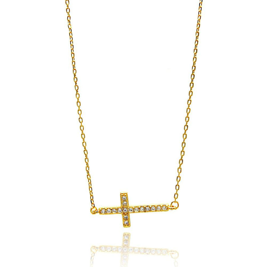 Sideways Cross CZ Necklace, Silver Necklace, Silver Jewelry - Birmingham Jewelry
