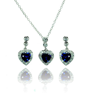 Blue Heart cz Set - Birmingham Jewelry
