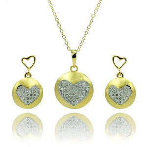 Clear Heart Circle Disc Set - Birmingham Jewelry