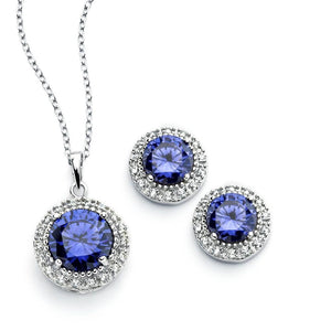 Clear Cluster Blue Circle Set - Birmingham Jewelry