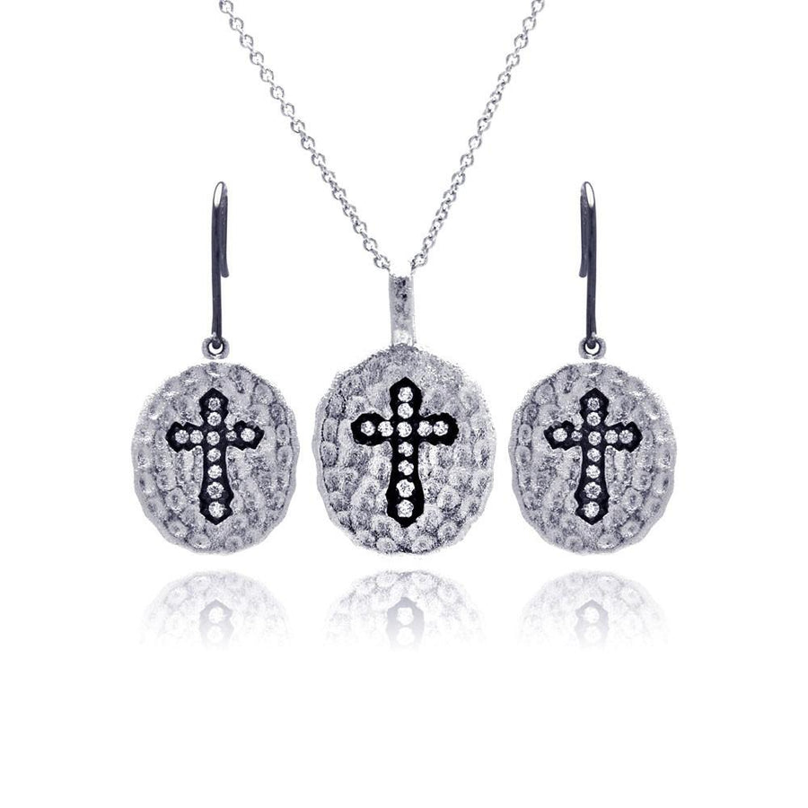 Hammered Oval Silver Cross Set